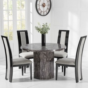 Venezia  Marble Dining Table Round In Grey And 4 Elbani Chairs