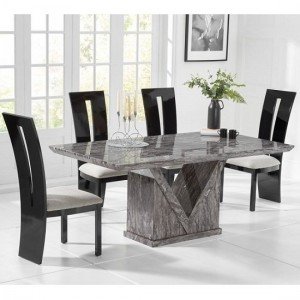Mocha Large Grey Marble Dining Table With Six Arizona Chairs