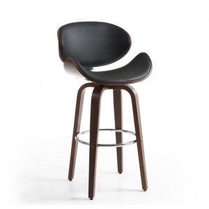 Bachelor Walnut Leather Effect Bar Chair In Black
