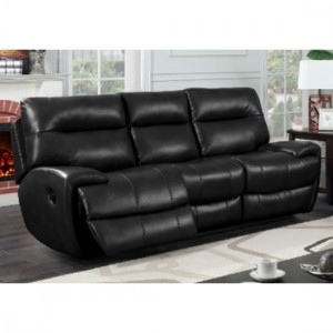 Bailey LeatherGel And PU Recliner 3 Seater Sofa In Black