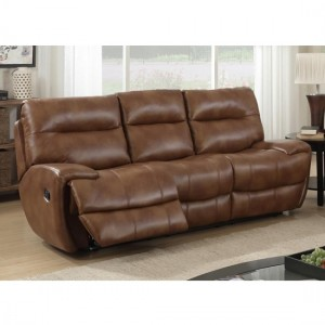 Bailey LeatherGel And PU Recliner 3 Seater Sofa In Tan