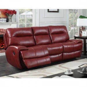 Bailey LeatherGel And PU Recliner 3 Seater Sofa In Wine Red