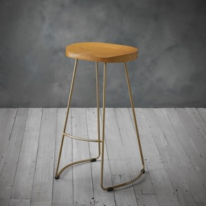 Bailey Pine Wood Seat Bar Stool With Golden Metal Legs