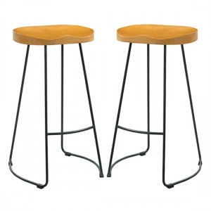 Bailey Pine Wood Seat Bar Stools In Pair With Black Metal Legs