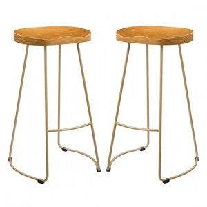 Bailey Pine Wood Seat Bar Stools In Pair With Golden Metal Legs