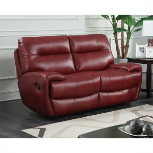 Bailey Recliner LeatherGel And PU 2 Seater Sofa In Wine Red