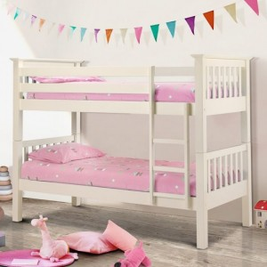 Barcelona Wooden Bunk Bed In Stone White