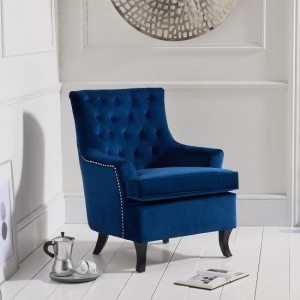 Barney Blue Velvet Bedroom Chair With Black Wooden Legs