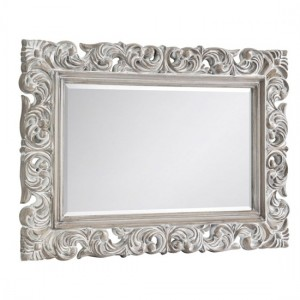 Baroque Wall Mirror In Distressed Wood Effect