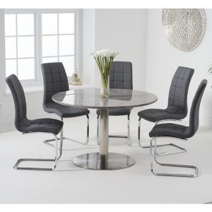 Battista 120cm Grey Marble Effect Round Dining Table With 6 Lucy Grey Chairs