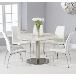 Battista 120cm White Marble Effect Round Dining Table With 6 Carsen White Chairs