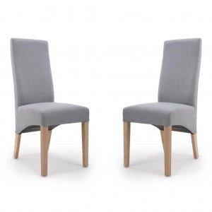 Baxter Wave Back Silver Grey Linen Dining Chair In Pair
