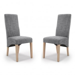 Baxter Wave Back Tweed Grey Fabric Dining Chair In Pair