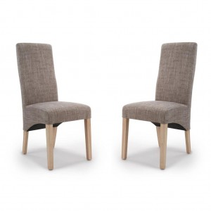 Baxter Wave Back Tweed Oatmeal Fabric Dining Chair In Pair