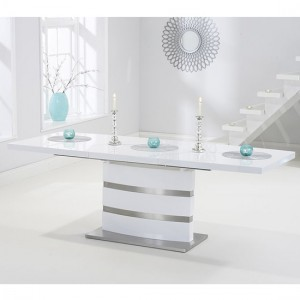Beaconsfield Extending Wooden Dining Table In White High Gloss