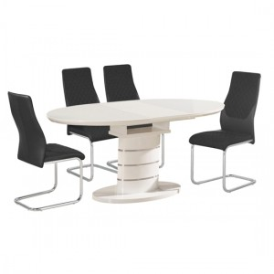 Bearwood Extending Wooden Dining Table In White High Gloss With 6 Chairs