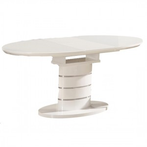Bearwood Extending Wooden Dining Table In White High Gloss