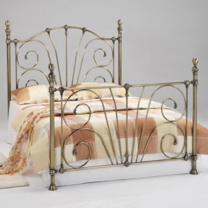 Beatrice Metal Double Bed In Antique Brass