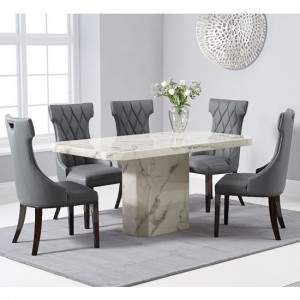 Becca 160cm White Marble Rectangular Dining Table With 6 Fredo Grey Chairs