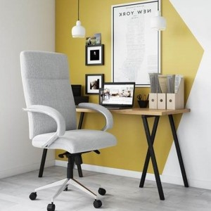 Bedford Designer Fabric Office Chair In Grey