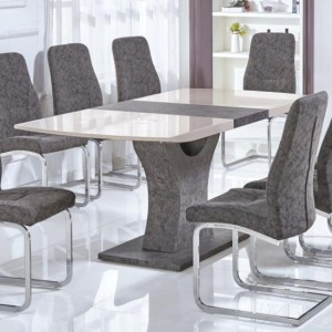 Belarus Extending Dining Table In Cream And Stone High Gloss