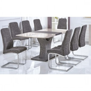 Belarus Extending Wooden Dining Set In Cream High Gloss With 6 Chairs