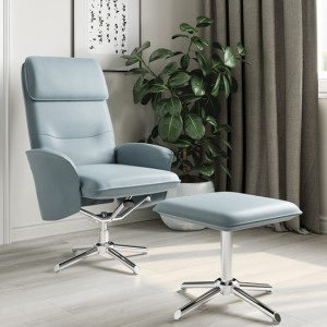 Belding Faux Leather Recliner Chair And Stool In Light Grey