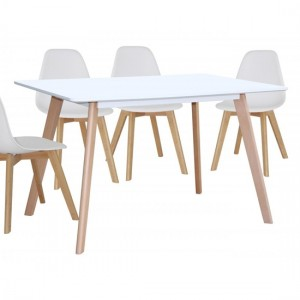Belgium Large Wooden Dining Table In White