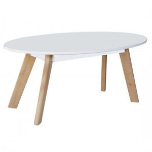 Belgium Oval Wooden Coffee Table In White