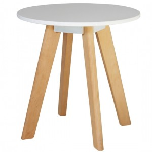 Belgium Round Wooden Lamp Table In White