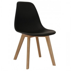 Belgium Set Of 4 Plastic Dining Chairs In Black With Solid Beech Legs