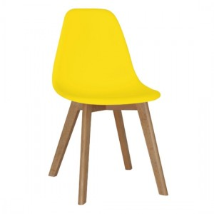 Belgium Set Of 4 Plastic Dining Chairs In Yellow With Solid Beech Legs