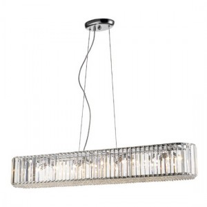 Ancha Decorative Rectangular Luminaire Pendant In Chrome And Clear