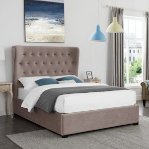 Belgravia Fabric Upholstered Double Bed In Cappuccino
