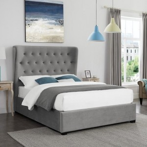 Belgravia Fabric Upholstered Super King Size Bed In Grey