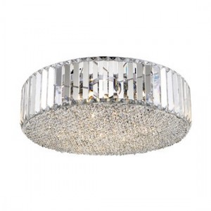 Ancha Flush Fitting Luminaire Wall Light In Chrome And Clear