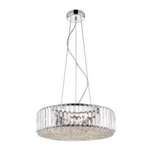 Ancha Round Decorative Luminaire Pendant In Chrome And Clear