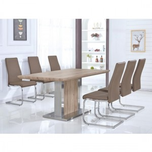 Belize Wooden Dining Set In Natural With Stainless Steel Base And 6 Chairs