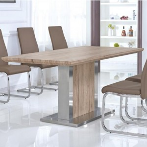Belize Wooden Dining Table In Natural With Stainless Steel Base