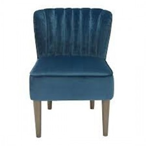 Bella Velvet Bedroom Chair In Midnight Blue