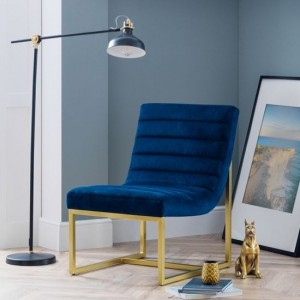 Bellagio Velvet Bedroom Chair In Blue With Brushed Gold Legs