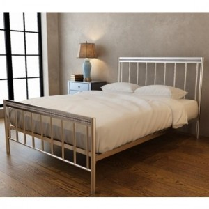 Bellini Metal Double Bed In Silver