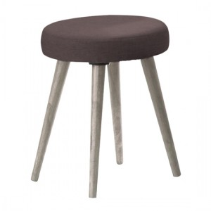 Belvoir Fabric Dressing Stool With Grey Oak Wooden Legs