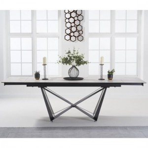 Benjamin Extending Marble Dining Table In White