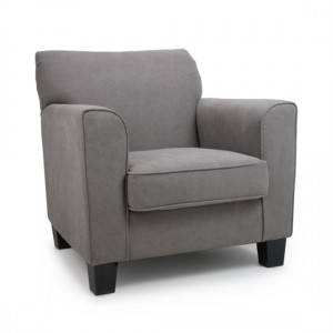 Berkeley Club Stonewash Effect Fabric Armchair In Grey