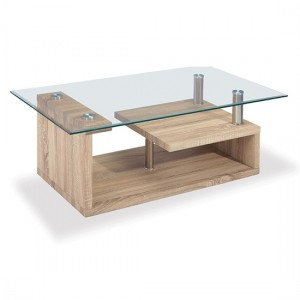 Bernard Glass Coffee Table With Natural Wooden Base