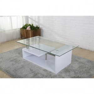 Bernard Glass Coffee Table With Wooden White High Gloss Base