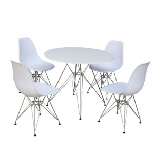 Bianca Round Wooden Dining Set In White High Gloss With 4 Chairs