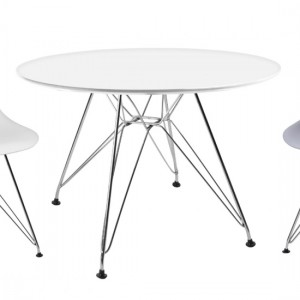 Bianca Round Wooden Dining Table In Matt White With Steel Chrome Legs