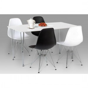 Bianca Wooden Dining Set In White High Gloss With 4 Chairs